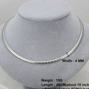 Textured silver 6mm stainless steel OMEGA NECKLACE